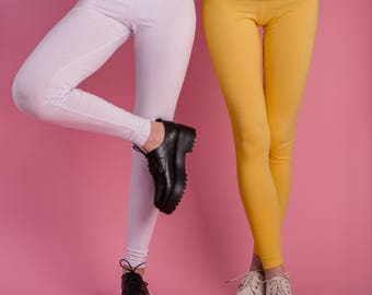 Leggings various colors cotton black white yellow pink teal