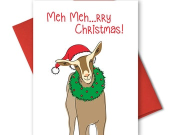 Cute Christmas Card - Punny Holiday Cards - Holiday Stationery - Box Set Xmas Cards - Xmas Novelty Cards - Christmas goat - Humorous Card