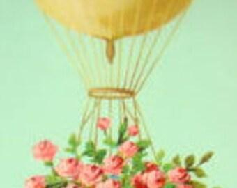 Lovely Vintage Postcard (Hot Air Ballon, Pink Flowers)