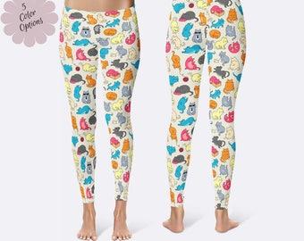 Cat Leggings, Ladies Leggings, Kitty Leggings, Unique Leggings, Print Leggings, Yoga Pants, Womens Leggings, Kitten Leggings, Cat Pants