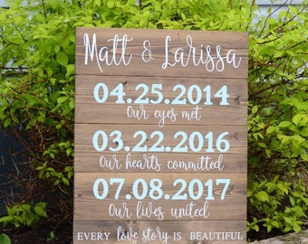Every Love Story Is Beautiful but Ours is my Favorite - stacked, solid wood sign - wedding decor - gift - home decor - custom - dates