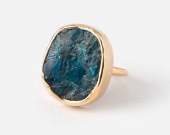Apatite ring - Raw Apatite ring - Rough Apatite ring - Semi Precious ring - Crystal ring - Rough stone ring - Raw stone ring - Gemstone ring