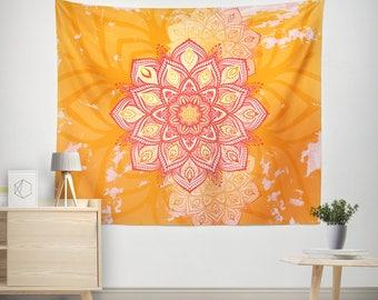 Bohemian Tapestry, Lotus Mandala Tapestry Wall Hanging, Spiritual Bohemian Decor, Bohochic Decor, Bohemian Wall Tapestry, Boho Tapestry