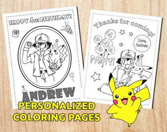 Sale! Pokemon Party Activity Coloring Pages / Pikachu / Personalized / Printable / Party Activity / Digital / PDF
