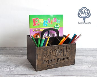 Personalized Desk Organizer Harry Potter Wood Desk Organizer Name Pencil  Cup Wood Pencil Holder Wood Name