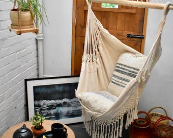 naturally luxurious white hammock chair 100  cotton hammock chair   etsy  rh   etsy