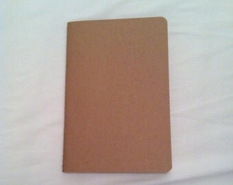 CRAFT SUPPLIES SALES: brown cover stitched notebook. Plain pages.