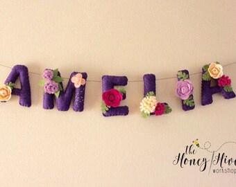 Flower name banner, floral name decor, flower baby shower banner, flower nursery decor, felt name, felt name banner, nursery decor