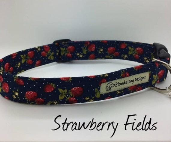 Pretty Dog Collar, or, Pretty Dog Lead, Strawberry Fields, Cute Dog Collar, Luxury Dog Lead, Luxury Dog Collar