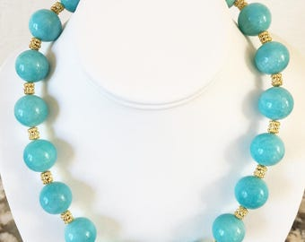AAA Amazonite 18mm Necklace with 24K Gold Vermeil Accent Beads and Hook Clasp