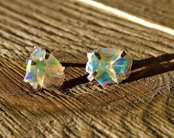 Raw Opal Earrings - Ethiopian Welo Opal Raw - Rough Opal - Sterling Silver Opal - Raw Opal Stud