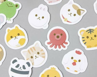 45 Pc Pk Cute Round Animals Mini Stickers ~ Cute Sticker, Kawaii Cartoon Stickers, Stationery, Scrapbooking, Planner Label, Decorative, Gift