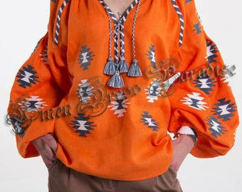 Top Vyshyvanka Orange Linen Embroidered Blouse Ukrainian Vyshyvanka Blouse Bohemian Vyshyvanka Mexican Embroidery Ethnic Ukrainian Clothing