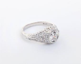 Platinum Diamond Edwardian Ring | Engagement Ring | Wedding Ring | Fine Jewelry | Edwardian Solitaire | Statement Ring | Hand Engraved