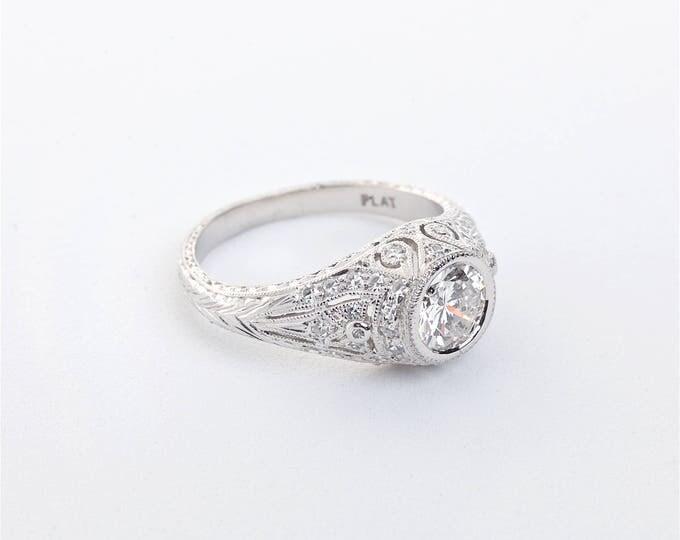 Platinum Diamond Edwardian Ring   Engagement Ring   Wedding Ring   Fine Jewelry   Edwardian Solitaire   Statement Ring   Hand Engraved