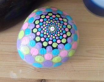 Hand painted, mandala stone, pastel dot design, beach pebble, painted rock, doorstop, paperweight, bookend, Cornish gift ,  handmade, boho,