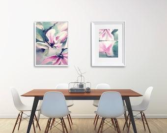Modern Flower Poster Set,  Original Family Gift, Floral Art Print Set, Modern Floral Painting Printable Set, Floral Painting Christmas Gift