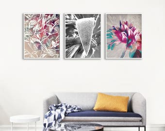 Modern Leaves Poster Set, Large Printable Photo Decor, Modern Gallery Wall Printables, Painting Printable Set, Bedroom Printable Wall Art