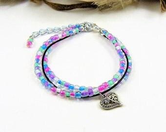 Multi Strand Bracelet, Seed Bead Bracelet, Beaded Bracelet, Layered Bracelet, Boho Beaded Wrap, Beaded Leather Wrap, Multi Color Bracelet