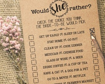 Would She Rather Game Bridal Shower game printable Wedding shower game Bachelorette party rustic games Instant download WG113