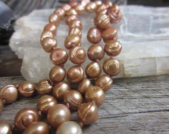 Copper pearls // freshwater pearls // Organic pearls