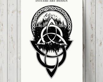 T shirt designs etsy studio for Ragnar head tattoo stencil
