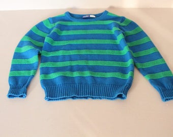 Vintage acrylic pullover, vintage pullover for boy, vintage striped sweatshirt, winter pullover for child