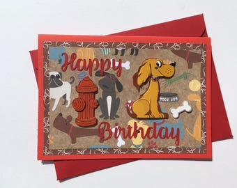 Birthday Card, Birthday Card With Dogs, Funny Card, Cute Card, Greeting Card, Card With Dogs, Love Dogs, Scrapbooking Card, Happy Birthday