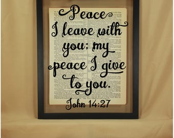 John, John 14, John 14 27, Peace I Give Unto You, Peace Wall Art, Peace Wall Decor, Bible Verse Wall Art, Scripture Wall Decor, Verse Decor