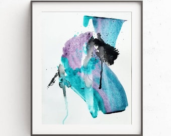 Original Abstract Painting on Paper 11x15 with black purple violet teal  UNFRAMED  artwork