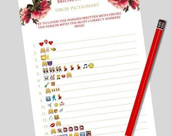 Bridal emoji game Wedding emoji Shower pictionary Emoji game Bridal shower emoji Wedding pictionary Printable pictionary Emoji guess game
