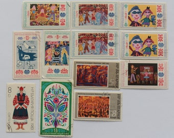 Set of 12 pcs Postal, Postage Stamp, Collecting, Philately # 4