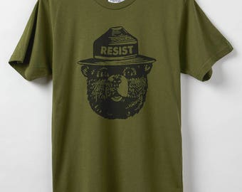 Smokey Resist - Men's T-Shirt - Resist Shirt - 100% Organic Cotton & Made in USA - Smokey the Bear Says Resist!