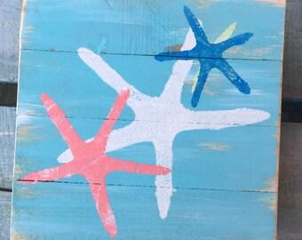 Starfish Art, Star Pallet Art, Starfish painting, Beach art, Marine wood art, Coastal Decor