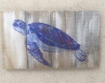 Sea Turtle Pallet Art, Reclaimed wood art, Ocean art, Marine art, Green turtle wall art, Coastal Decor