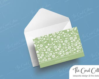 Personalized Notecard, Custom Stationery, Folded Notecard, Foldover Notecard, Thoughtful, Gift, Floral, Blank card