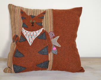 Cat Cushion - Who's for dinner in Harris Tweed and Abraham Moon Tweed