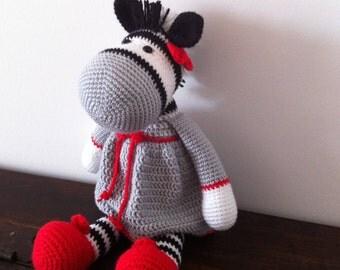 Amigurumi  zebra,Crochet zebra,Plush zebra,Yarn zebra