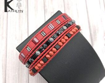 Wrap bracelet wrap around black and Red