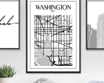 Washington Dc Print, Washington Dc Map, Printable Washington DC Map Poster, Washington City Map Print, Map Of Washington, Instant Download