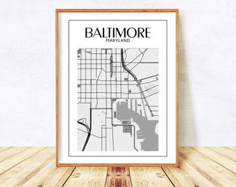 Baltimore, Baltimore Maryland, Baltimore Print, Baltimore Wall Art, Baltimore Map, Baltimore Poster, Maryland Map, City Map Instant Download