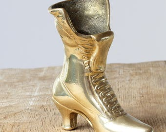 Brass Boot Ornament - Vintage Brass Boot - Brass Boot Flower Vase, Brass Vase, Brass Boot Paperweight, Brass Boot Pen Holders