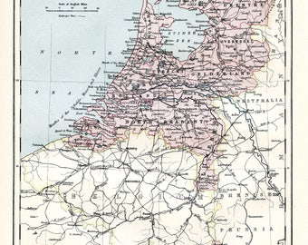 Map of Holland. Original Antique print from the Ninth Edition of the Encyclopaedia Britannica (1875-1889).