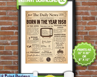 60th Birthday Poster, 1958 Birthday Poster Sign, NEWSPAPER sign, 60th Adult Birthday Gift Poster, 60th Anniversary -  Digital Printable File