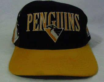 Vintage 90s Pittsburgh Penguins Sports Specialties Hat Cap Snapback NHL Hockey Black & Gold
