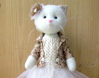 Сat doll -Сat doll ballerina-Cat Stuffed Animal- Cat Plushie-Cat Handmade Doll-Сat Decorative toy-girl gift-Ballerina doll-cat lover gift