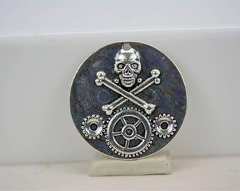 Skull and Crossbones Pendant, Steampunk Skull Pendant, Halloween Pendant