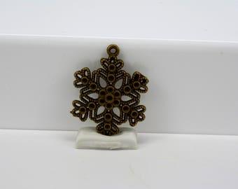 Snowflake Pendant, Antique Bronze Snowflake Pendant, Large Snowflake Pendant