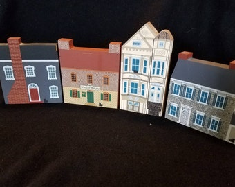 4 Vintage Cats Meow Village Shelf Sitting Buildings Signed by Faline 1989-1991