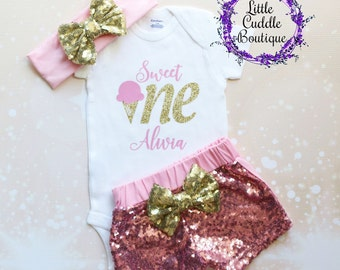 Personalized Ice Cream Birthday Outfit, First Birthday Outfit, Ice Cream Shirt, Ice Cream Bodysuit, Ice Cream Party, Birthday Girl Outfit